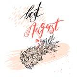 Γειά σου λιανικό μήνυμα κειμένων Αυγούστου Το καλύτερο για το έμβλημα πώλησης διάνυσμα Στοκ φωτογραφία με δικαίωμα ελεύθερης χρήσης