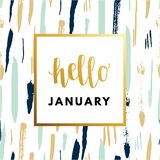 Γειά σου Ιανουάριος κόβει τη δημιουργική, ελάχιστη χειμερινή ευχετήρια κάρτα έτους ελεύθερη απεικόνιση δικαιώματος