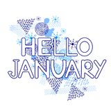 Γειά σου Ιανουάριος, μπλε γεωμετρικοί αριθμοί και snowflakes στο άσπρο υπόβαθρο διανυσματική απεικόνιση