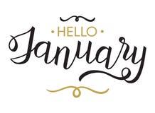 Γειά σου, Ιανουάριος - τυπογραφία, καλλιγραφία εγγραφής χεριών απεικόνιση αποθεμάτων