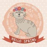 Γειά σου διανυσματική κάρτα άνοιξη με μια χαριτωμένη γάτα Στοκ Φωτογραφία