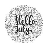 Γειά σου, Ιούλιος - συρμένο χέρι απόσπασμα εγγραφής θερινών κύκλων που απομονώνεται στο άσπρο υπόβαθρο Επιγραφή μελανιού βουρτσών διανυσματική απεικόνιση