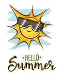 Γειά σου καλοκαίρι Δημιουργική γραφική διανυσματική εγγραφή απεικόνιση αποθεμάτων
