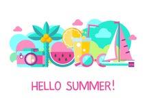 Γειά σου καλοκαίρι διάνυσμα clipart διανυσματική απεικόνιση