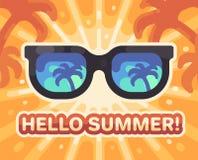Γειά σου καλοκαίρι! Ζωηρόχρωμη επίπεδη απεικόνιση θερινών παραλιών ελεύθερη απεικόνιση δικαιώματος