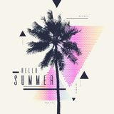 Γειά σου καλοκαίρι Σύγχρονη αφίσα με το φοίνικα και γεωμετρικό γραφικό Στοκ Φωτογραφία