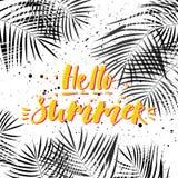 Γειά σου καλοκαίρι Τροπικό θερινό σχέδιο με τα φύλλα φοινικών Συρμένη χέρι εγγραφή ελεύθερη απεικόνιση δικαιώματος