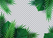 Γειά σου καλοκαίρι, καλοκαίρι Υπόβαθρο των τροπικών εγκαταστάσεων Φύλλα φοινικών, φύλλο ζουγκλών Η αφίσα για την πώληση και ένα σ διανυσματική απεικόνιση