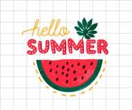 Γειά σου καλοκαίρι, φωτεινή ζωηρόχρωμη αφίσα Εγγραφή χεριών και ώριμη φέτα καρπουζιών σε τακτοποιημένο χαρτί Τυπωμένη ύλη ενδυμασ απεικόνιση αποθεμάτων