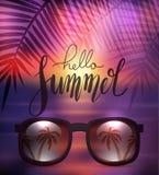 Γειά σου καλοκαίρι, χειρόγραφη εγγραφή με τα γυαλιά ηλίου στο θολωμένο υπόβαθρο θάλασσας με τον κλάδο φοινικών Θετικό απόσπασμα γ ελεύθερη απεικόνιση δικαιώματος