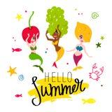 Γειά σου καλοκαίρι Όμορφες γοργόνες διανυσματική απεικόνιση