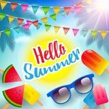 Γειά σου καλοκαίρι, θερινή αφίσα, ιπτάμενο ή υπόβαθρο πρόσκλησης διανυσματική απεικόνιση