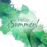 Γειά σου καλοκαίρι Θερινή ευχετήρια κάρτα με τα πράσινα φύλλα διανυσματική απεικόνιση