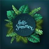 Γειά σου καλοκαίρι, καλοκαίρι Η αφίσα κειμένων στο κλίμα διανυσματική απεικόνιση