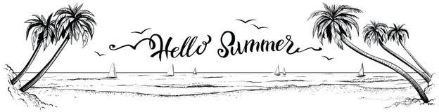 Γειά σου καλοκαίρι, που γράφει με την πανοραμική άποψη παραλιών επίσης corel σύρετε το διάνυσμα απεικόνισης Στοκ Φωτογραφία