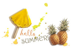 Γειά σου καλοκαίρι φρέσκος ανανάς Στοκ Φωτογραφία