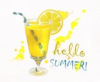 Γειά σου καλοκαίρι φρέσκο λεμόνι χυμού Στοκ εικόνα με δικαίωμα ελεύθερης χρήσης