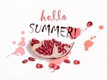 Γειά σου καλοκαίρι φρέσκο ρόδι Στοκ φωτογραφία με δικαίωμα ελεύθερης χρήσης