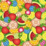 Γειά σου καλοκαίρι Φωτεινό θερινό σχέδιο Καρπούζι, κεράσι, σμέουρο, βακκίνιο, φράουλα, πορτοκάλι, λεμόνι, και ασβέστης Στοκ Εικόνες