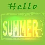 Γειά σου καλοκαίρι - dright χρωματισμένη εγγραφή Ρεαλιστική τρισδιάστατη αφίσα Στοκ Εικόνα