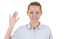 Γειά σου, κυματίζοντας χέρι γυναικών, άσπρο υπόβαθρο Στοκ εικόνες με δικαίωμα ελεύθερης χρήσης