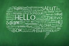 Γειά σου λεκτική φυσαλίδα στις διαφορετικές γλώσσες Στοκ Εικόνα