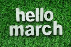 Γειά σου Μάρτιος που γίνεται από το συγκεκριμένο αλφάβητο στην πράσινη χλόη στοκ εικόνα με δικαίωμα ελεύθερης χρήσης
