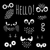 Γειά σου με τα μάτια κουκουβαγιών κινούμενων σχεδίων ελεύθερη απεικόνιση δικαιώματος