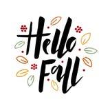 Γειά σου πέστε εγγραφή χεριών βουρτσών με τα φύλλα φθινοπώρου διανυσματική απεικόνιση