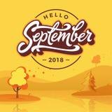 Γειά σου Σεπτέμβριος γύρω από το διακριτικό με το τοπίο φθινοπώρου Επίπεδο ύφος Διανυσματική τυπογραφία Εγγραφή βουρτσών για το έ ελεύθερη απεικόνιση δικαιώματος