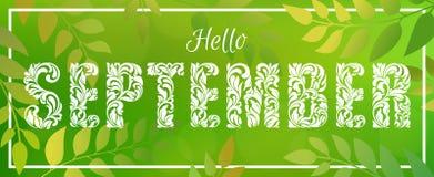 Γειά σου Σεπτέμβριος Διακοσμητική πηγή που γίνεται στους στροβίλους και τα floral στοιχεία απεικόνιση αποθεμάτων