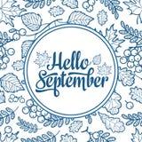 Γειά σου Σεπτέμβριος Διακοσμητικό πλαίσιο φύλλων φθινοπώρου ελεύθερη απεικόνιση δικαιώματος