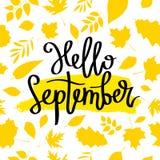 Γειά σου Σεπτέμβριος Η καλλιγραφία τάσης απεικόνιση αποθεμάτων