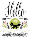 Γειά σου σχέδιο κάλυψης καρτών. Ευτυχή αλεπού και δάσος  Στοκ Εικόνα