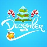 Γειά σου τον Δεκέμβριος, φωτεινό του χριστουγεννιάτικο δέντρο, σφαίρες διακοσμήσεων, lollipo απεικόνιση αποθεμάτων
