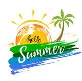 Γειά σου το καλοκαίρι με μια βούρτσα κτυπά και φοίνικας στοκ εικόνα