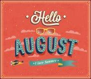 Γειά σου τυπογραφικό σχέδιο Αυγούστου. Στοκ φωτογραφία με δικαίωμα ελεύθερης χρήσης