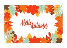 Γειά σου υπόβαθρο φθινοπώρου με τα επίπεδα φύλλα διανυσματική απεικόνιση