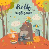 Γειά σου υπόβαθρο φθινοπώρου με τα χαριτωμένα ζώα Στοκ Εικόνα