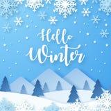 Γειά σου υπόβαθρο χειμερινού σχεδίου Χιονοπτώσεις Origami διανυσματική απεικόνιση
