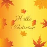 Γειά σου φθινόπωρο αντίο καλοκαίρι Διανυσματική απεικόνιση στην πλάτη Στοκ Εικόνες