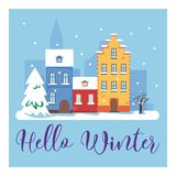 Γειά σου χειμερινή εικονική παράσταση πόλης Η πόλη στις χειμερινές διακοπές landscape urban Διανυσματική επίπεδη απεικόνιση Στοκ φωτογραφία με δικαίωμα ελεύθερης χρήσης
