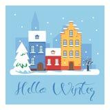 Γειά σου χειμερινή εικονική παράσταση πόλης Η πόλη στις χειμερινές διακοπές landscape urban Διανυσματική επίπεδη απεικόνιση Στοκ φωτογραφίες με δικαίωμα ελεύθερης χρήσης