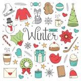 Γειά σου χειμώνας doodles Απεικόνιση αποθεμάτων