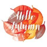 Γειά σου χειρόγραφη κάρτα φύλλων φθινοπώρου και watercolor Στοκ εικόνες με δικαίωμα ελεύθερης χρήσης