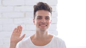 Γειά σου, όμορφο κυματίζοντας χέρι ατόμων Στοκ Εικόνες