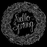 Γειά σου floral στεφάνι άνοιξη Στοκ εικόνα με δικαίωμα ελεύθερης χρήσης