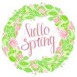 Γειά σου floral στεφάνι άνοιξη Στοκ Εικόνα