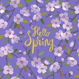Γειά σου floral υπόβαθρο άνοιξης για την εποχή άνοιξης με τους ανθίζοντας κλάδους δέντρων μηλιάς Προσφορά προώθησης με τη floral  ελεύθερη απεικόνιση δικαιώματος