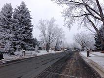 Γειτονιά μετά από τη θύελλα χιονιού και πάγου Στοκ εικόνα με δικαίωμα ελεύθερης χρήσης
